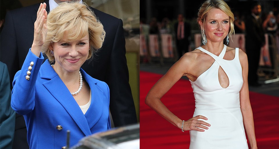 On the set of Diana + Naomi Watts poses on the red carpet as she attends the world premier of Diana in London.