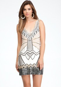 Bebe Art Deco Shift Dress, $445USD.